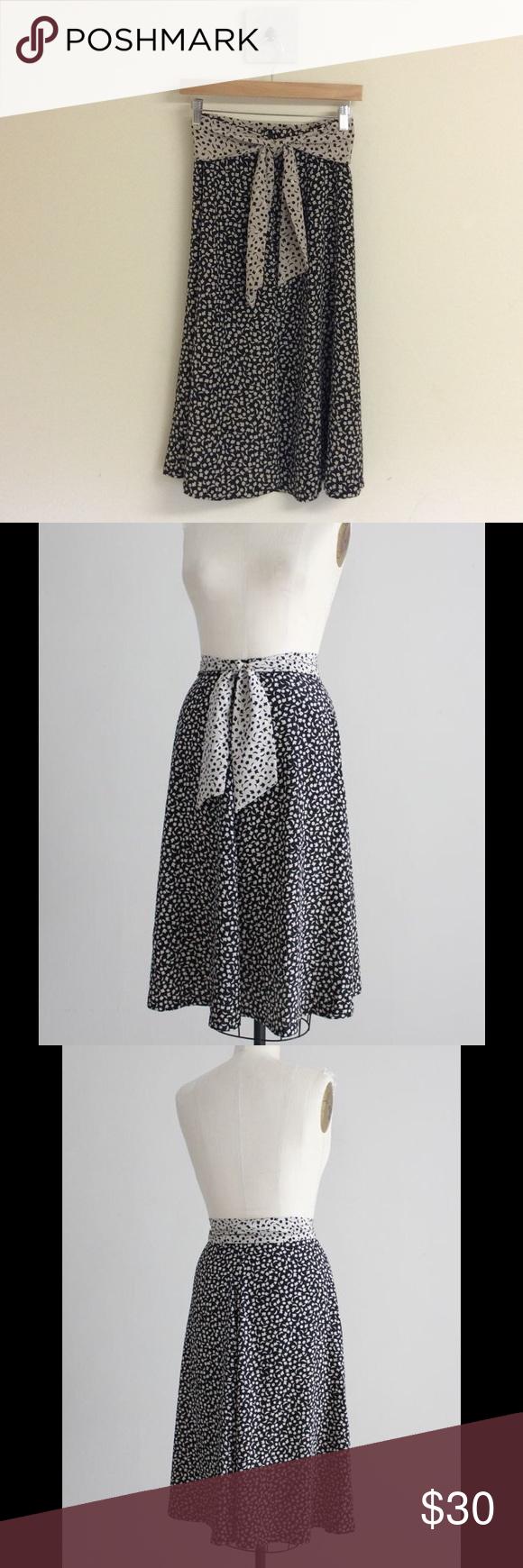 70s Polka Dot Skirt Cotton Midi Skirt 26 Waist Small Vintage Skirt