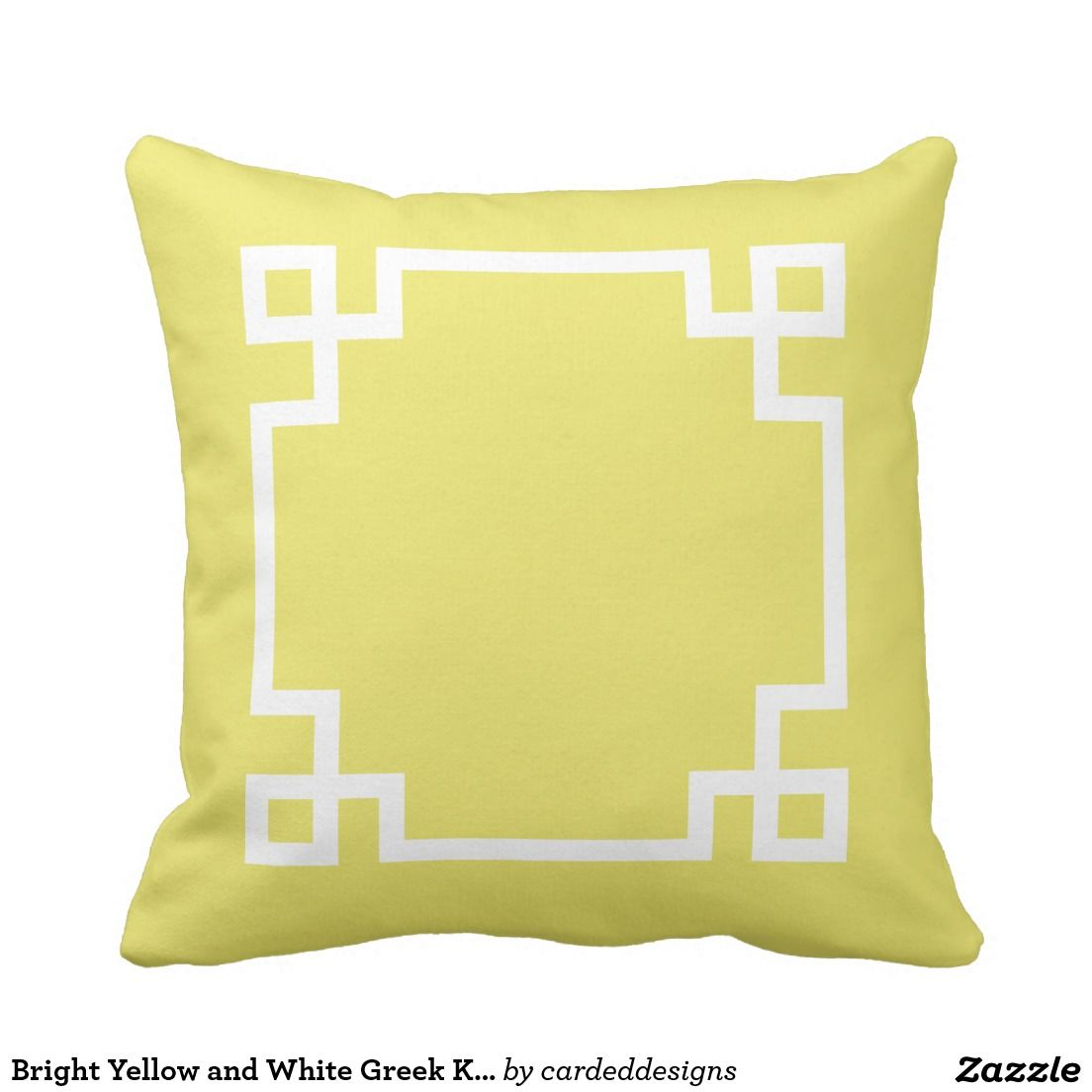 Bright Yellow And White Greek Key Outdoor Pillow Outdoor Pillows