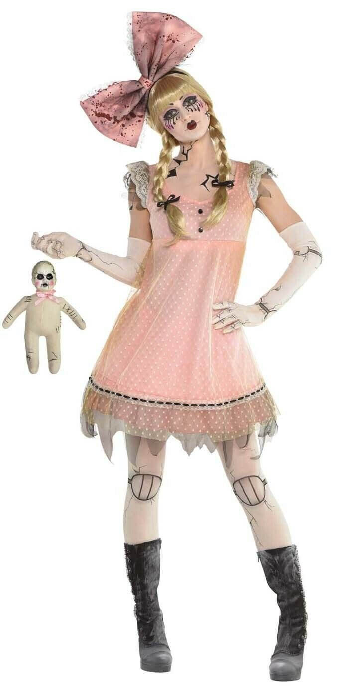 Pink Creepy Doll Halloween Dress for Women One Size for