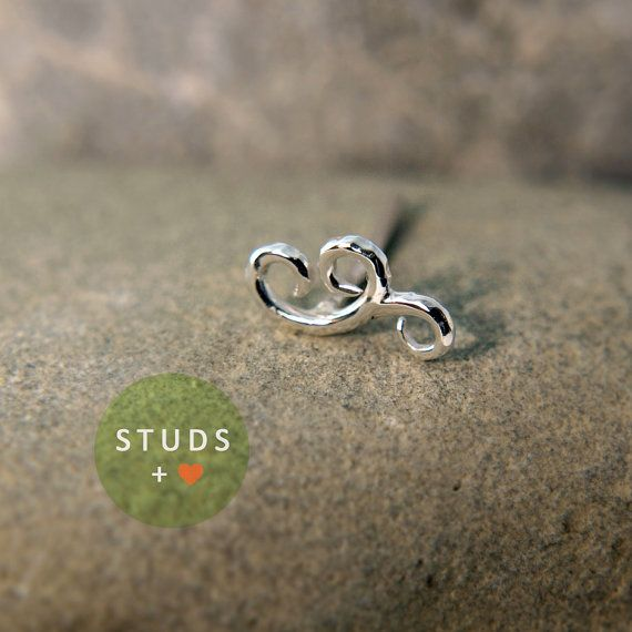 TRAGUS earring Stud /Swirl motif/ Sterling by ...