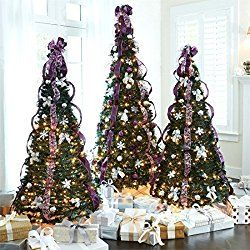 brylanehome 6 pre lit pop up christmas tree purple silver0