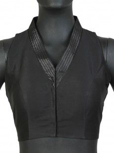 Classy black high neck sleeveless blouse