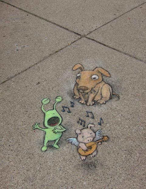 Music Feeds the Unsavage Beast (Sunday Artisans' Market, Ann Arbor MI) by David Zinn.  May 26, 2013
