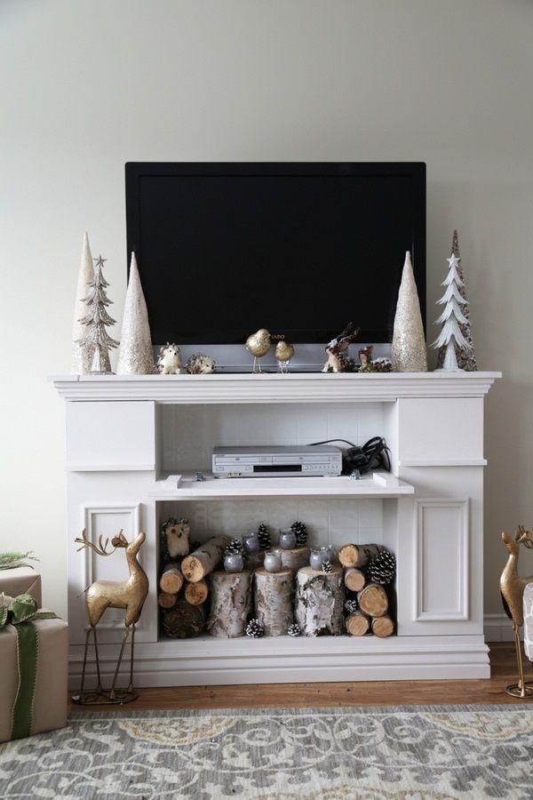 kaminumrandung selber bauen dekokamin anleitung tvwand weiss kaminsims deko kerzen brennholz. Black Bedroom Furniture Sets. Home Design Ideas