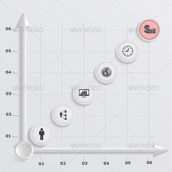 Paper Stepwise Economic Graph Infographic   D Abstract Arrow