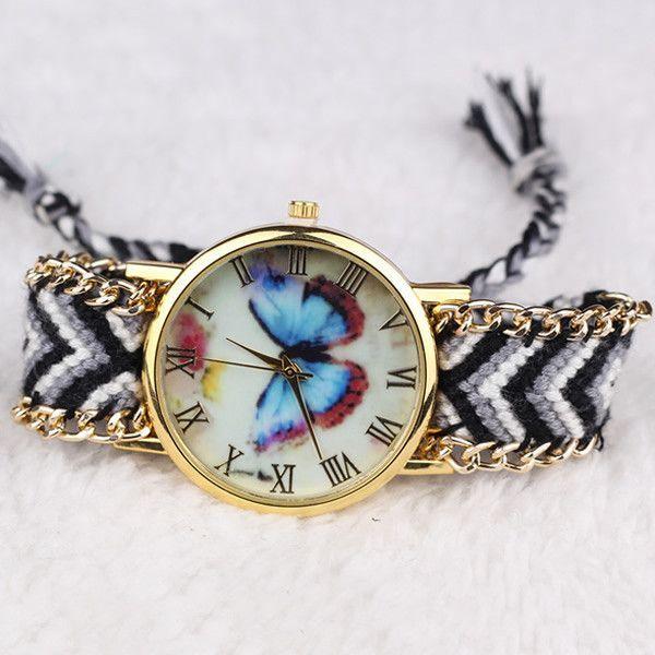 2016 New Brand Handmade Braided Butterfly Friendship Bracelet Watch GENEVA Watches Women Quartz Watches relogio feminino