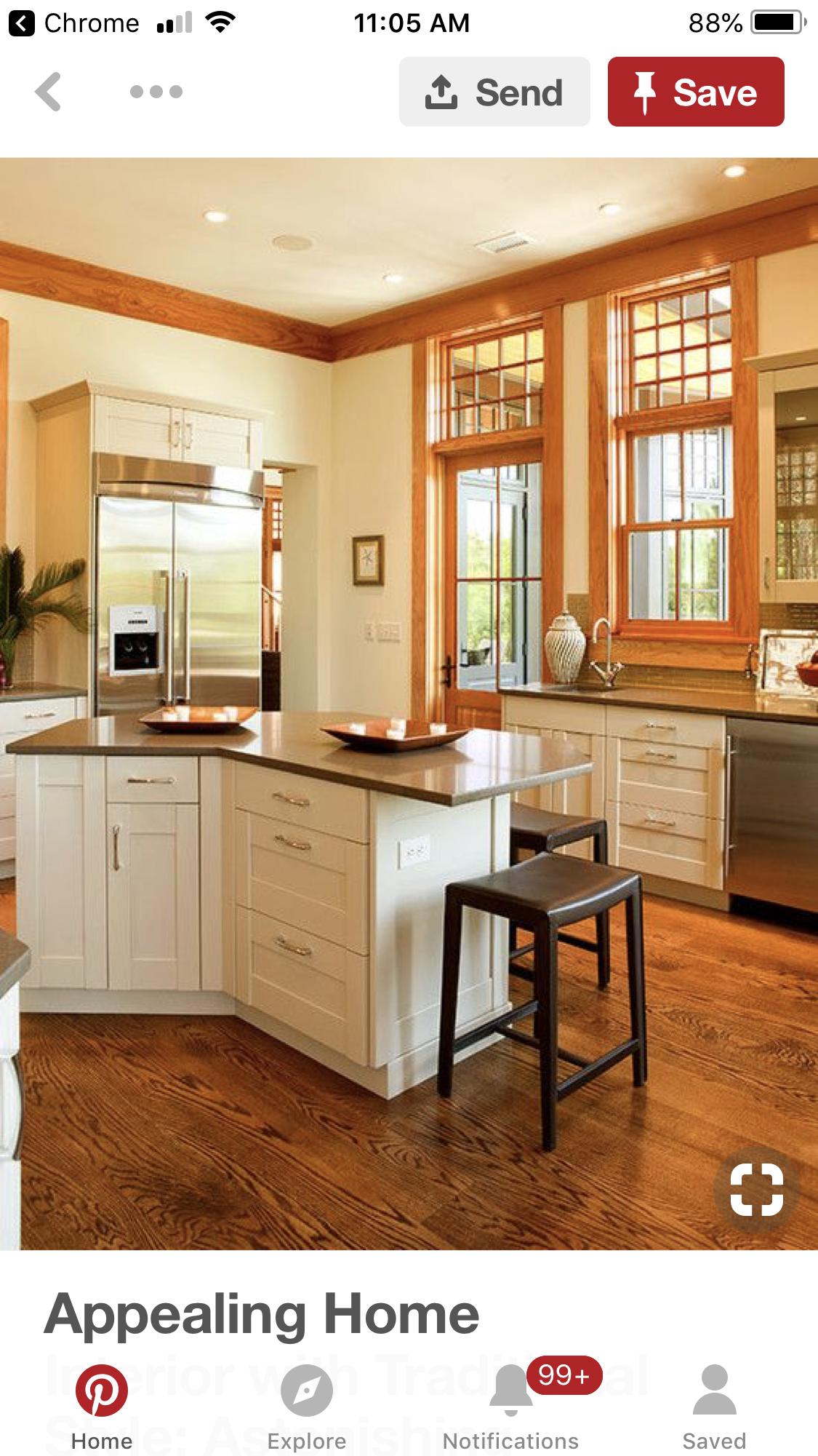 Pin By Nancy Walsh On Wood Trim And White Cabinets White Kitchen Oak Trim Vintage Kitchen Cabinets Crown Molding Kitchen