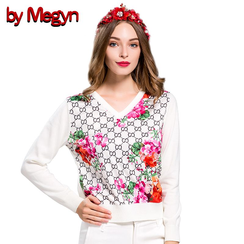 2017 Autumn Winter Women Fashion Loose Comfortable Wool Sweater V-neck Long Sleeve Floral Print Sweater Pullovers Knitwear G515