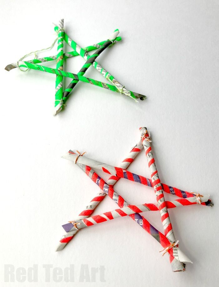 Newspaper Stars - 5 Paper Straws - Use 5 DIY Paper Straws to make these  simple recycled star ornaments. Love easy paper star diys like this!! - Newspaper Stars - 5 Paper Straws Christmas Stars Diy Christmas