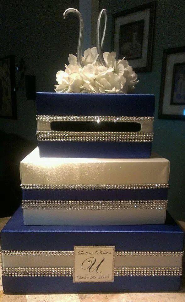 wood wedding card holders%0A Blue and Bling wedding card box