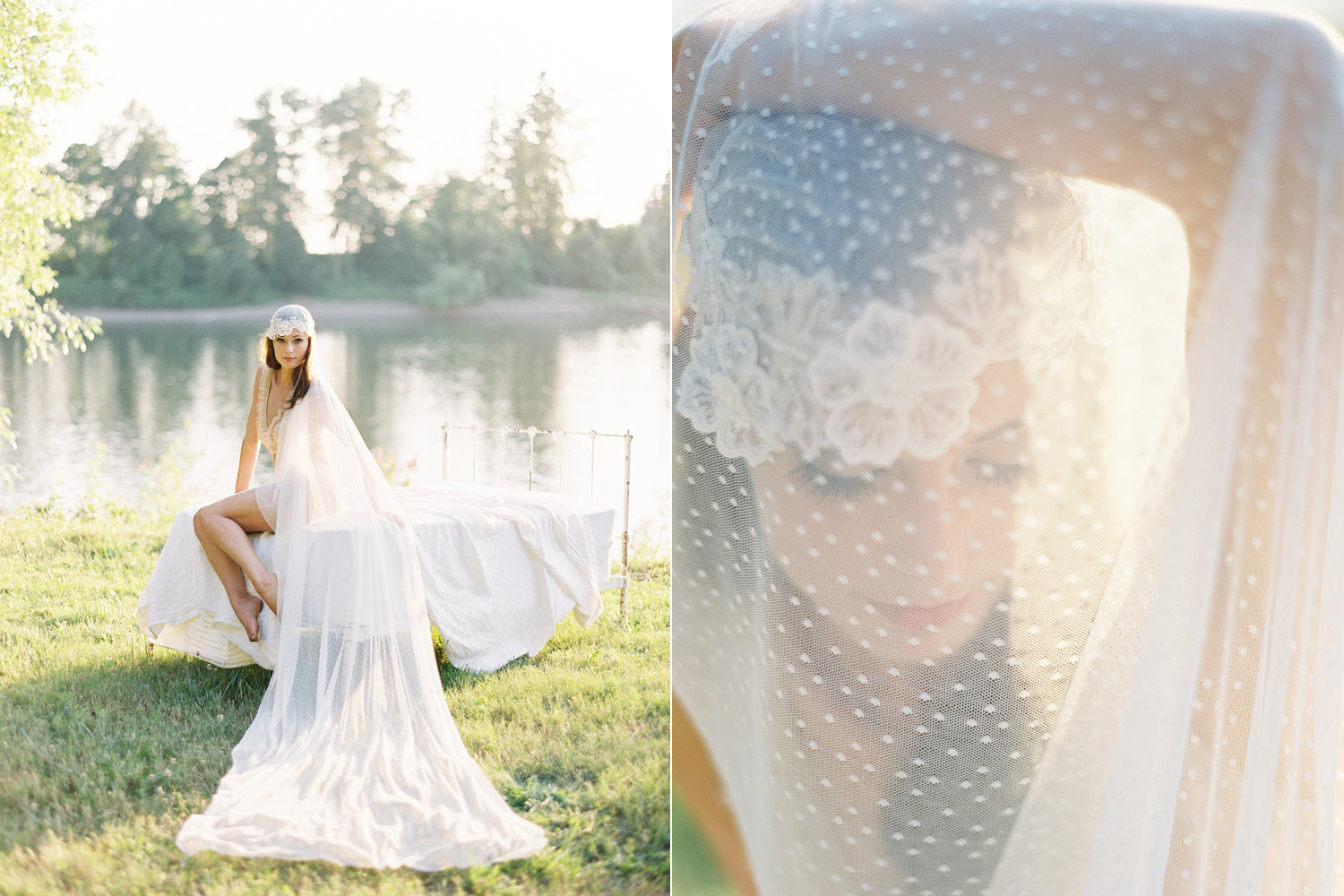 Beautiful swiss dot and lace cathedral bridal veil headdresses and