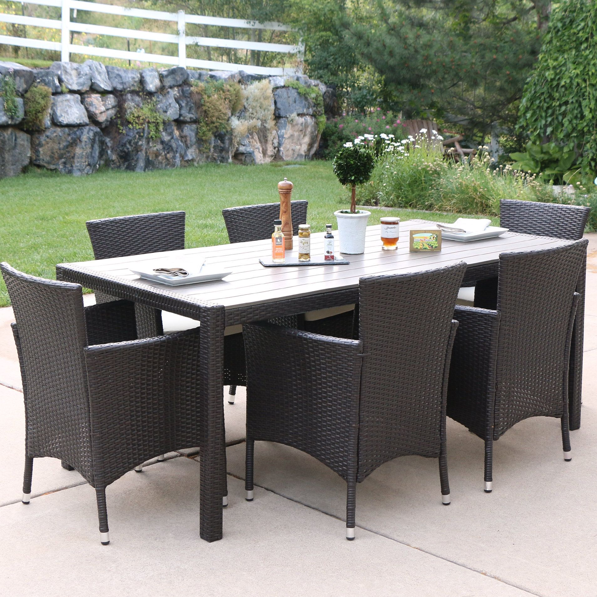 oswilier rattan patio 7 piece dining set with cushions products rh pinterest com