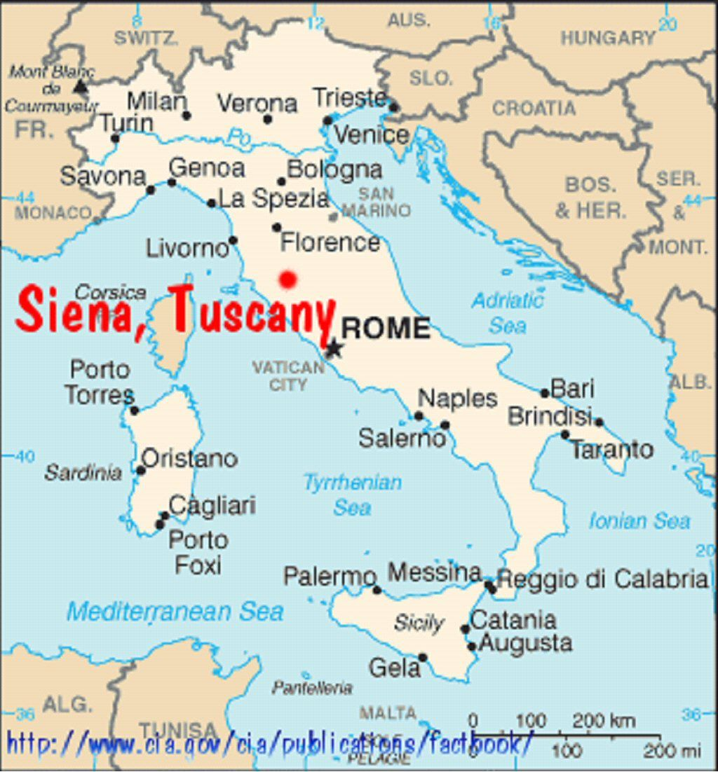 siena italy | Map of Italy showing Siena and ii) schematic map of