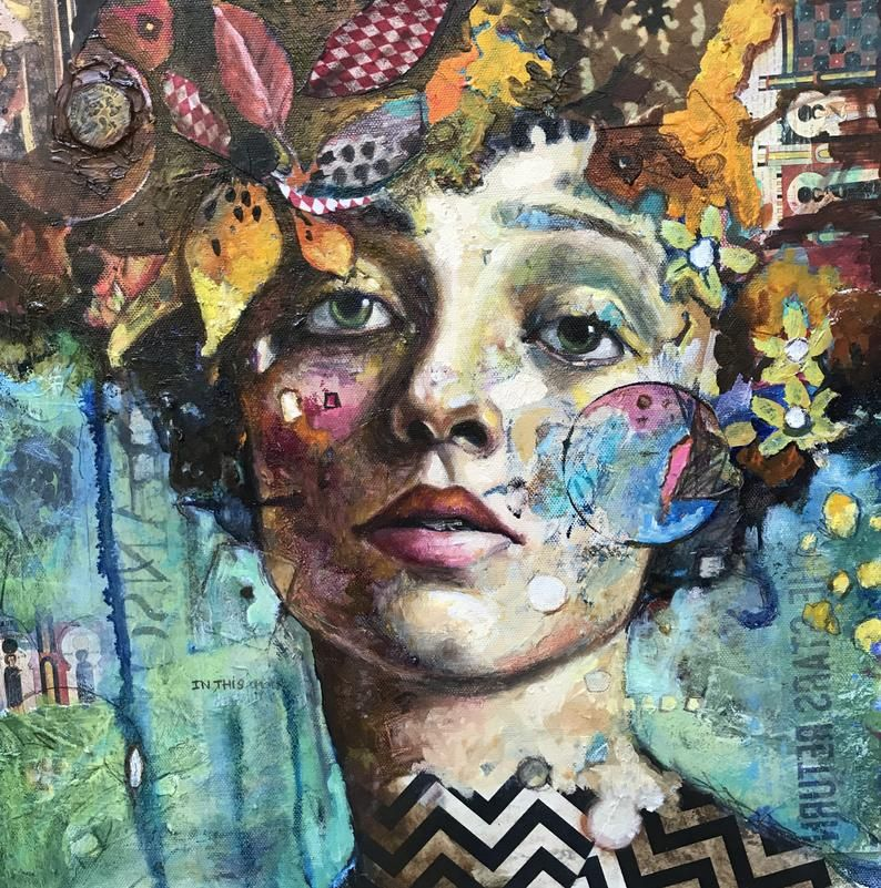 Contemporary Square Portrait Woman In Collaged Flowers Signed