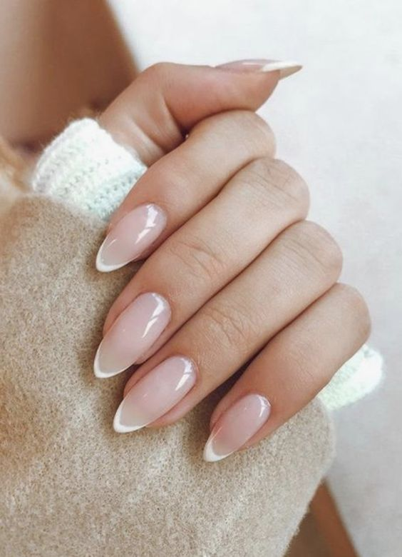 The Most Beautiful Almond Type Nail Art Pointy Nails French Manicure Nails Neutral Nail Designs