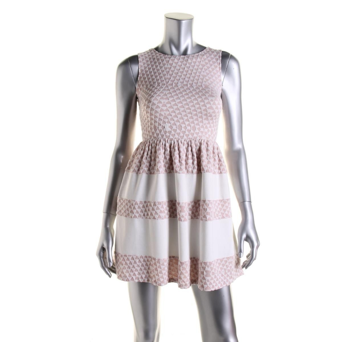 Bar III Womens Jacquard Sleeveless Party Dress