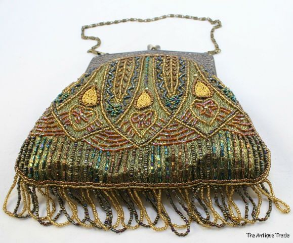 Vintage Antique Gold Floral Frame Knit Iridescent Brown Green Copper Bead Lined Purse Up-To-Date Styling
