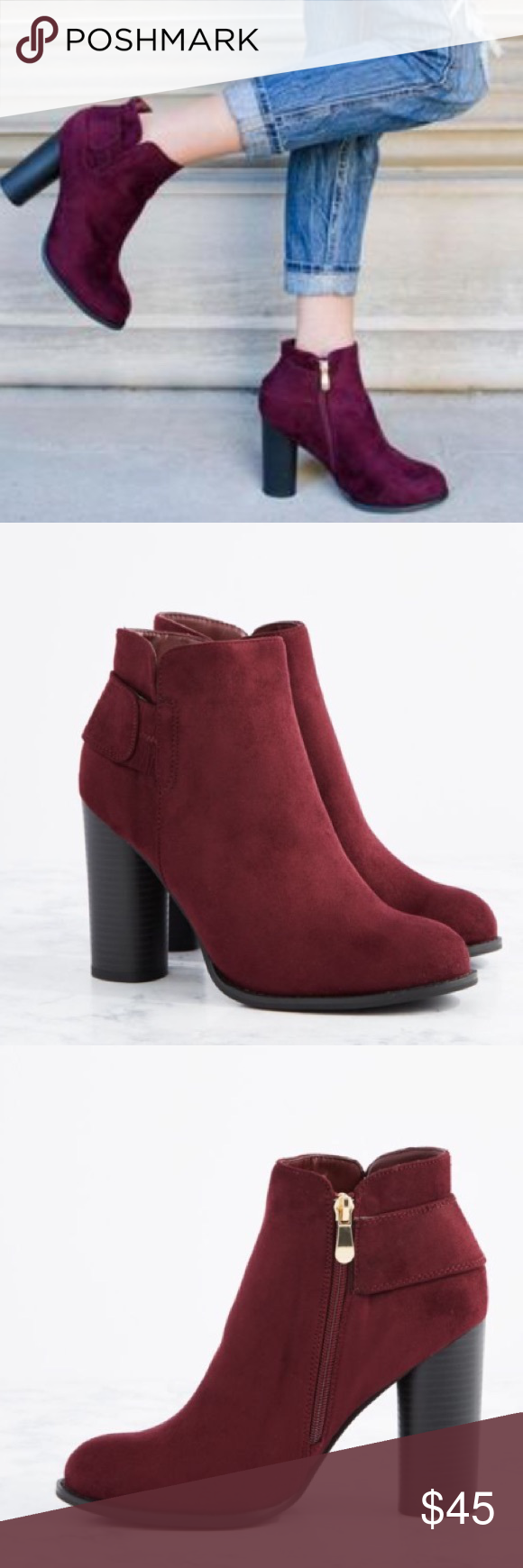 "🍷Wine Colored Chunky Ankle Suede Short Booties 🍷Wine Colored Chunky Stacked Block Wedge Ankle Suede Short Booties with wrap around Detail. Fits true to size. 4.25"" heel. Cushioned insole. Zip closure. Shoes Ankle Boots & Booties"