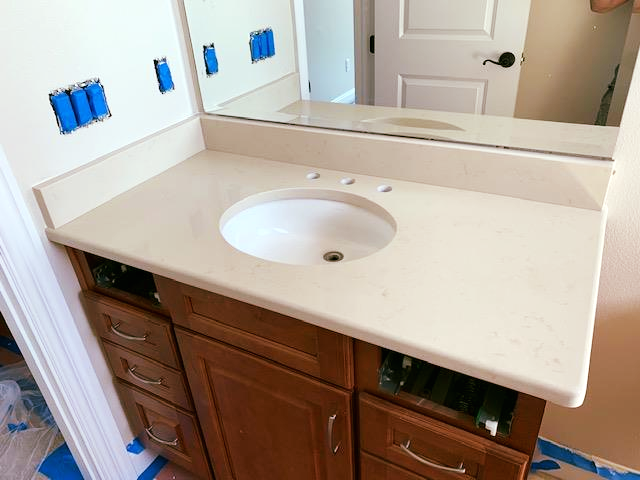 Amazing Bathroom Countertop Made By Using Beautiful Crema Marfil
