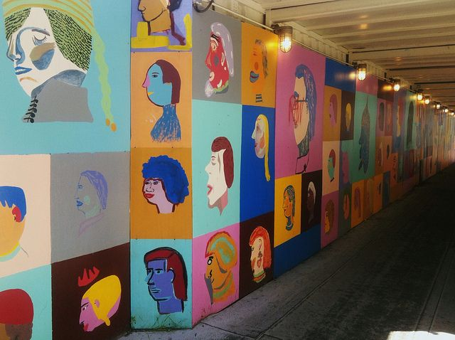 """by d a b i t o, via Flickr,  this fun collaborative project called """"Billions and Billions of People"""" by Chris Johanson and Johanna Jackson, local artists and thirty homeless youths served by the New Avenues for Youth Artist Mentorship Program."""