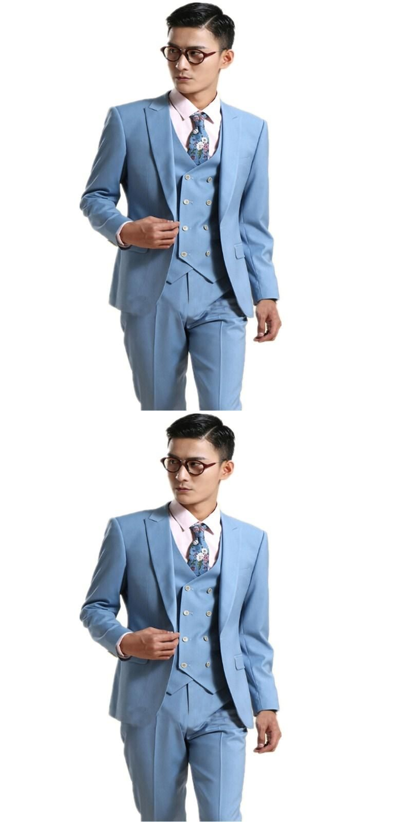 2017 costume homme Mens Suits Light Blue Wedding Suits For Men Slim ...