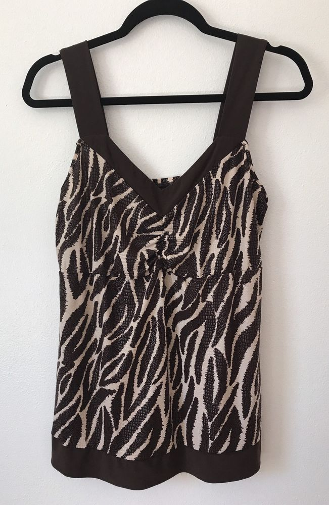 3eda0c7215a4df Womens MAURICES Sleeveless Blouse XL Tank Top Shirt Brown Tiger Animal Print