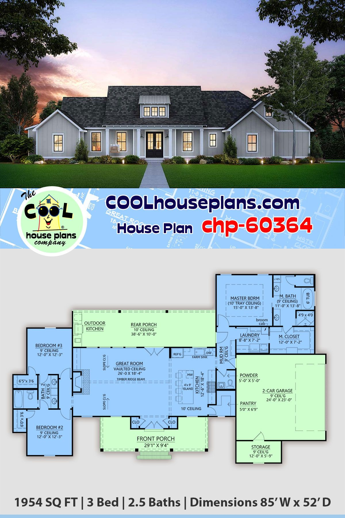Country Farmhouse Plan chp-60364 is 1954 Sq Ft, 3 Bedrooms, 2.5 Bathrooms and a 2 Bay Garage