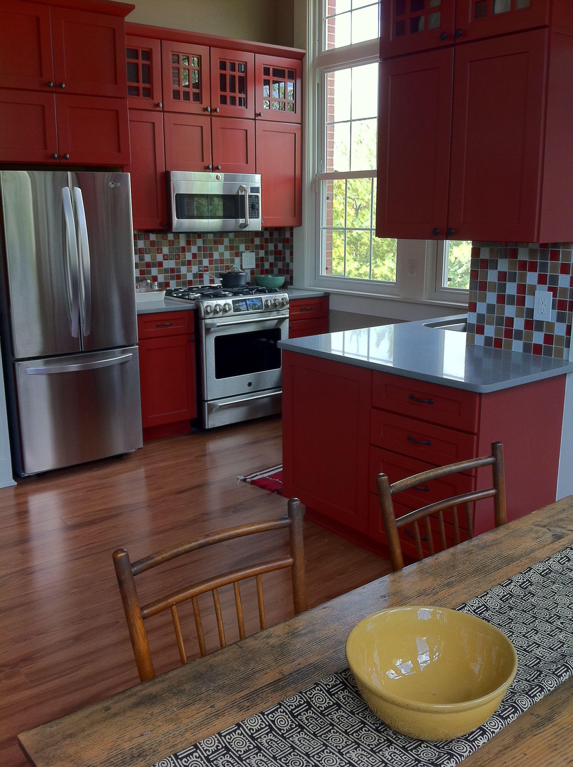 Red kitchen | Red kitchen cabinets, Red cabinets