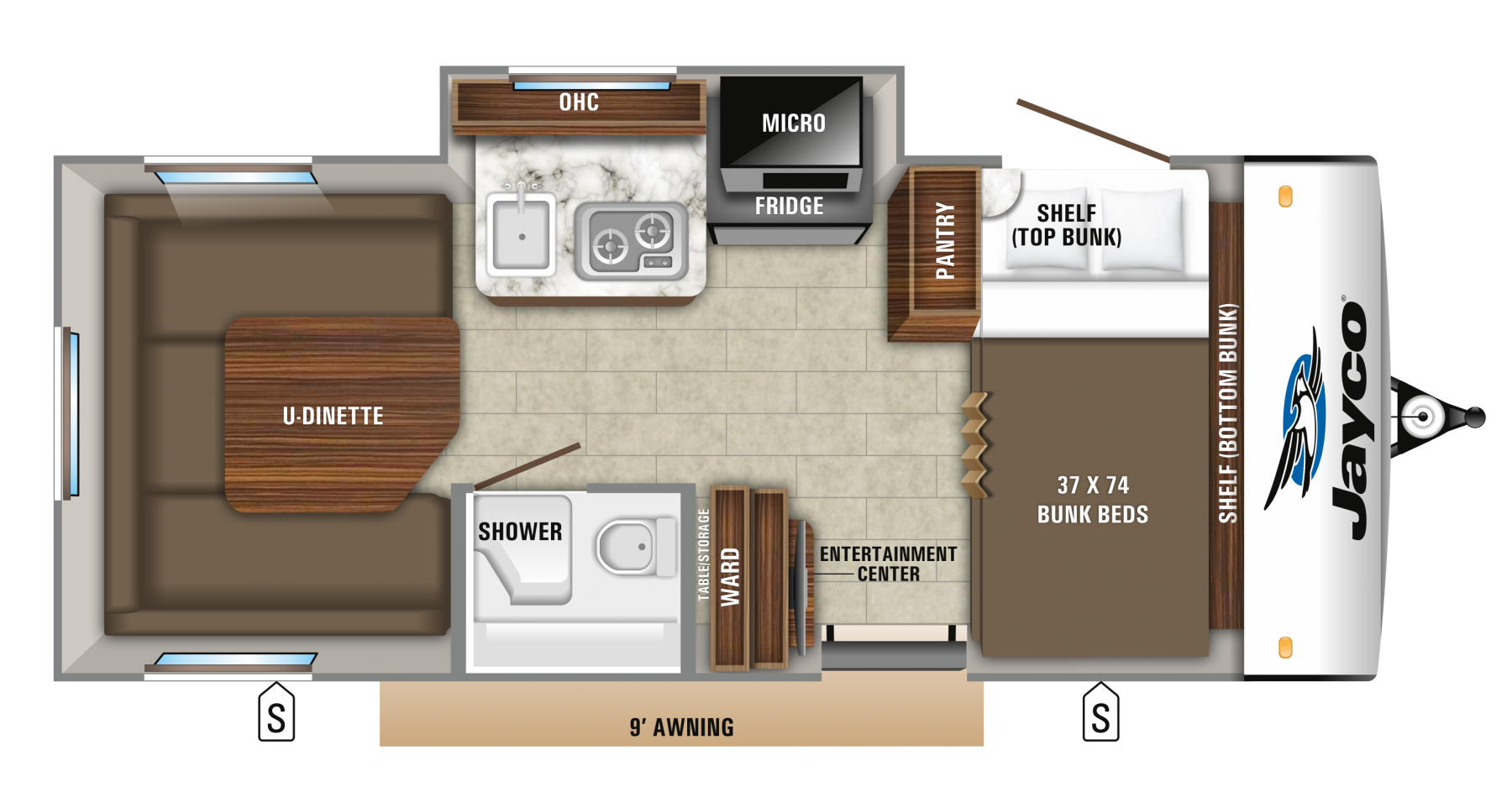 2019 Hummingbird 17bh Floorplan Travel Trailer Floor Plans