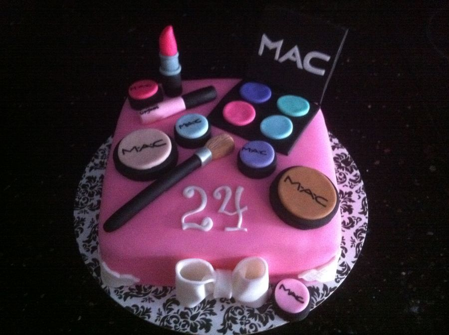 Mac Makeup Cake With Images Make Up Cake 24th Birthday Cake