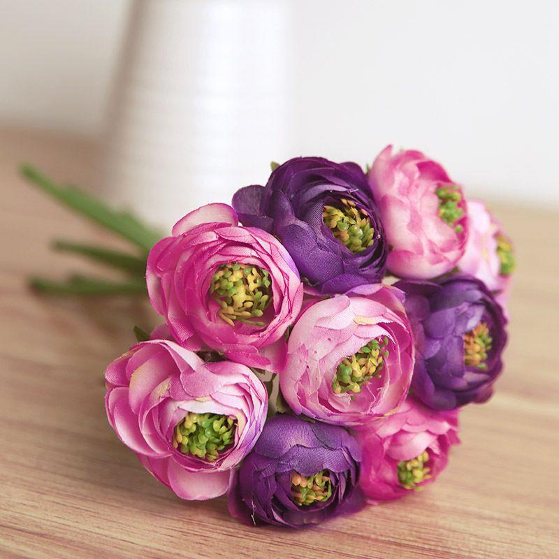1 Bouquet 9 Pcs Artificial Ranunculus Flowers Silk Flowers For Wedding Decoration Fake Ra Buying Wedding Flowers Wholesale Flowers Wedding Silk Flowers Wedding