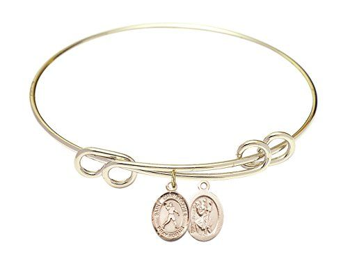 Fish Cross Charm On A 7 1//2 Inch Round Double Loop Bangle Bracelet