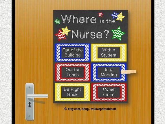 School Nurse Gift Nursing Decor Office Door By WeLovePrintableArt