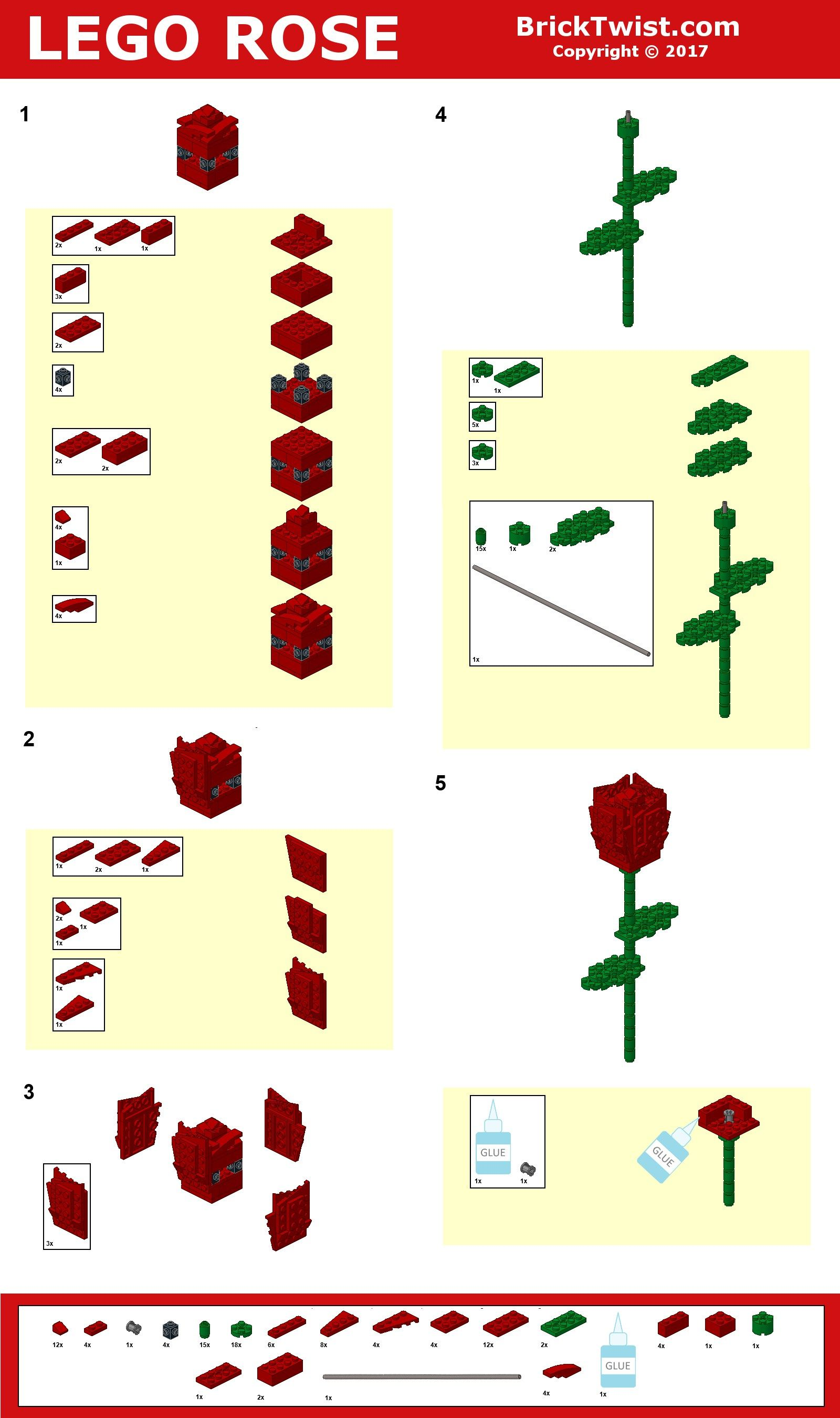 How to Build a Lego Rose Lego flower, Lego creations