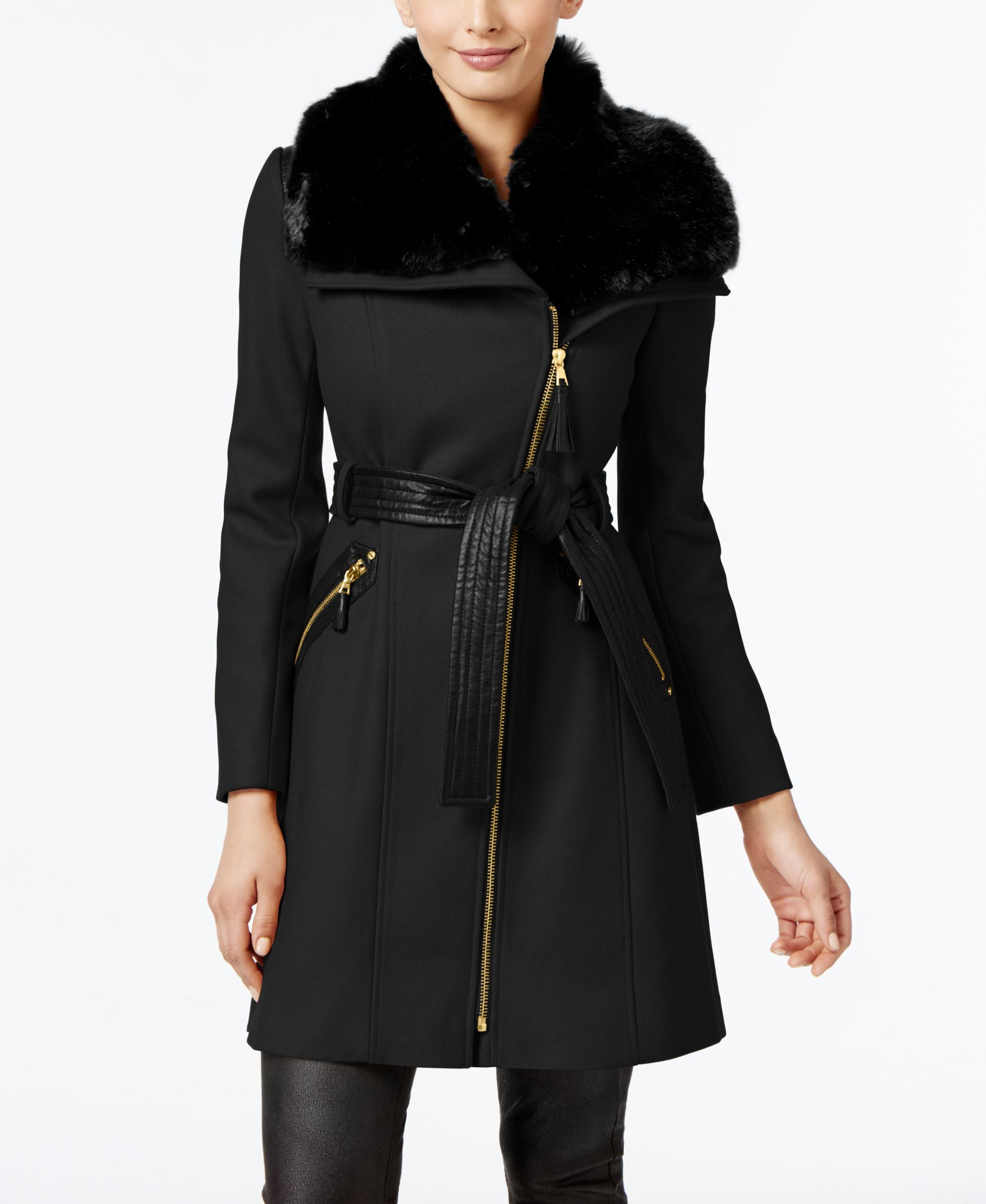 3dfabed81c8 Via Spiga's petite coat is updated with gorgeous details like faux fur and  tonal faux leather to create a look that's cozy yet sophisticated.