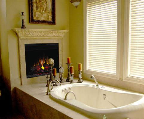 Would Love To Have An Electric Fireplace Somewhere In The Bathroom For  Those Cold Winter Nights