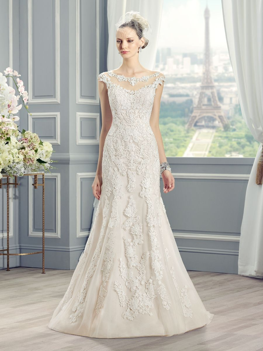 All lace trumpet wedding dress with bateau neckline. Moonlight Style ...