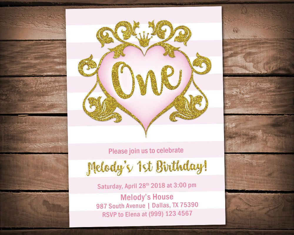 Pink and Gold First Birthday Invitation - Girls First Birthday ...