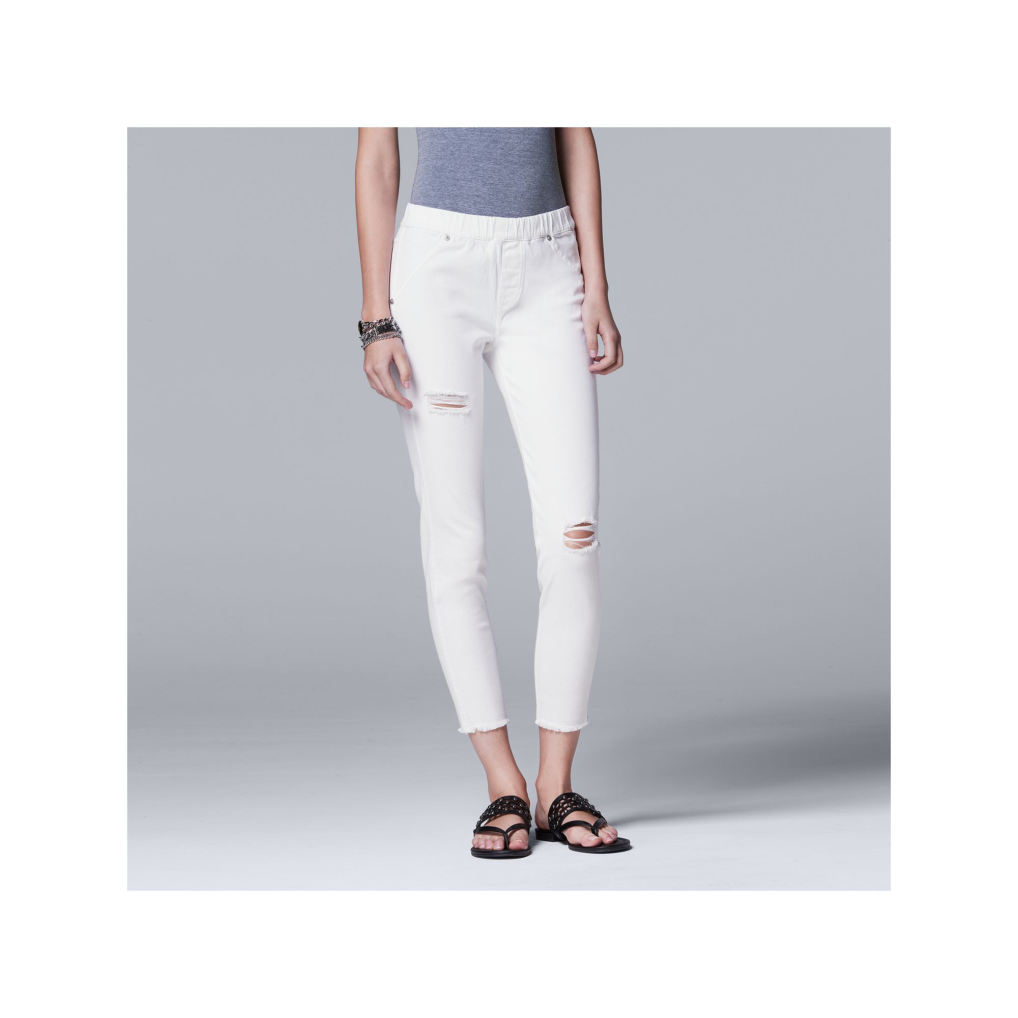 e240368555e Simply Vera Vera Wang Ripped Denim Skimmer Leggings