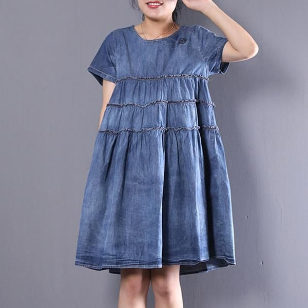 4b04c2436fff Women Casual Round Neck Short Denim Pleated Dress | Summer/Spring ...