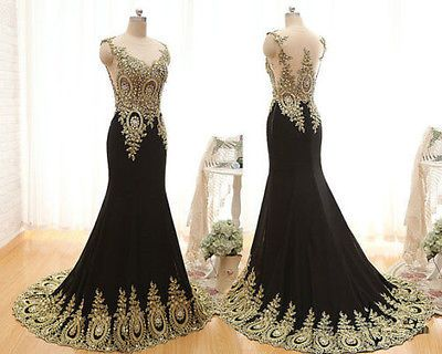 New long chiffon mermaid crystal gold lace prom dress applique