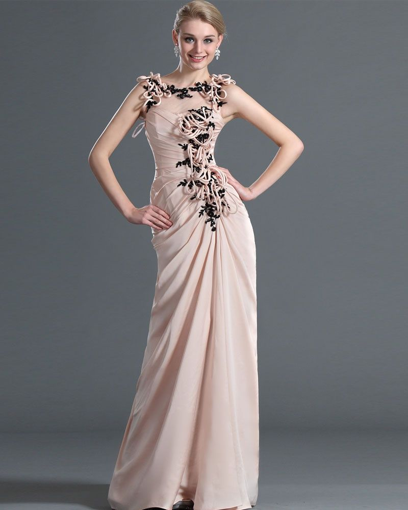osell wholesale dropship Chiffon Tulle Pleated Applique Bateau Sleeveless Floor Length A Line Evening Prom Dresses $89.13