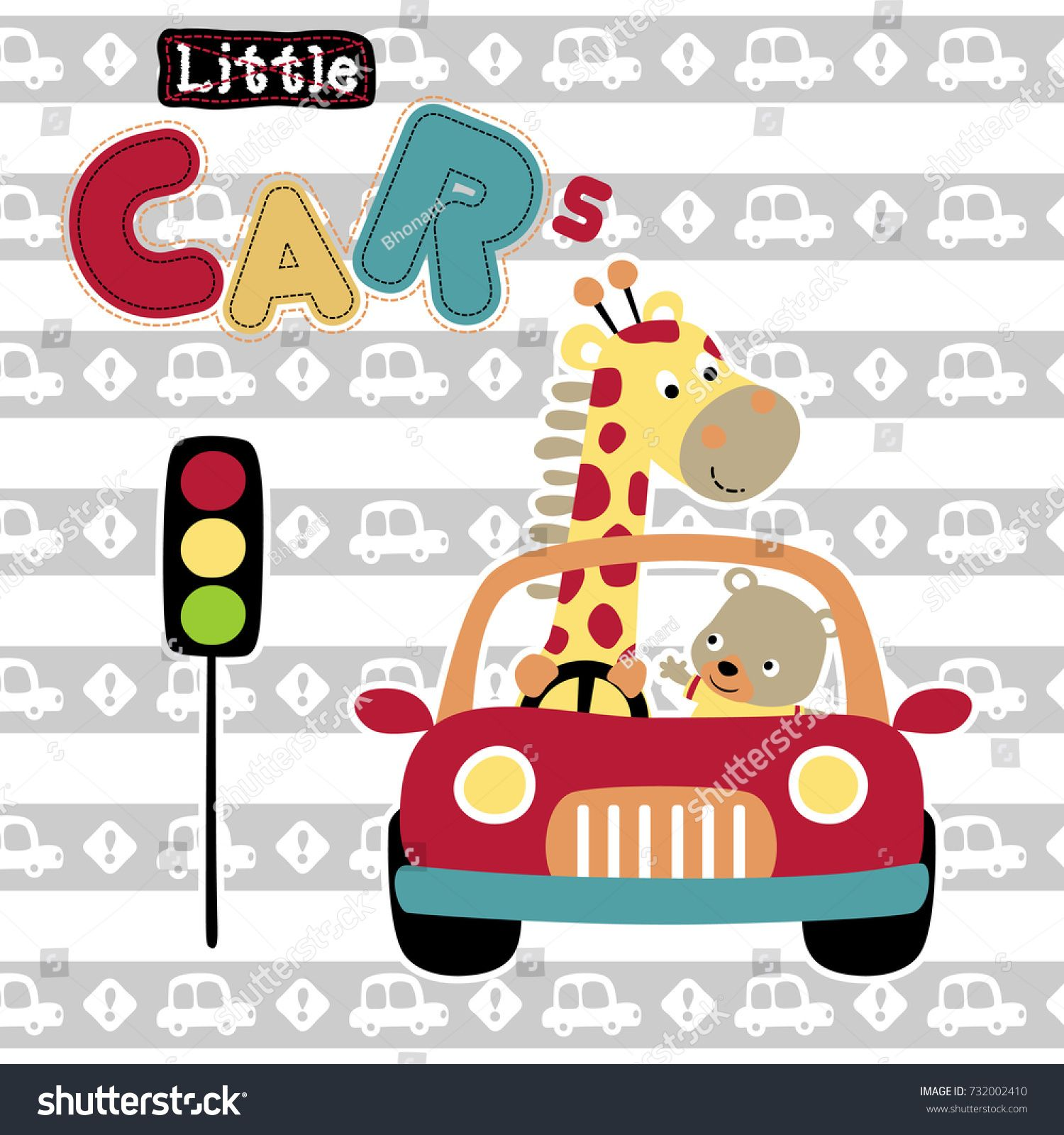 Cute Animals On A Car Vector Cartoon Illustration Estampas De