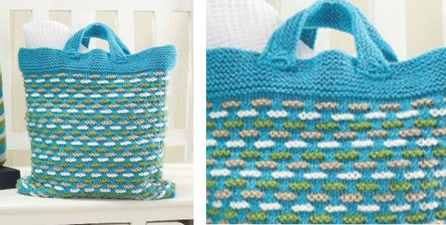 Knit Basket Weave Bag Free Knitting Pattern My Crafts