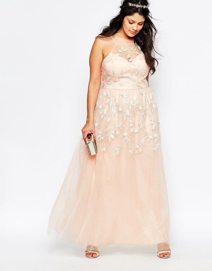 Image of chi chi london plus embroidered halter maxi dress