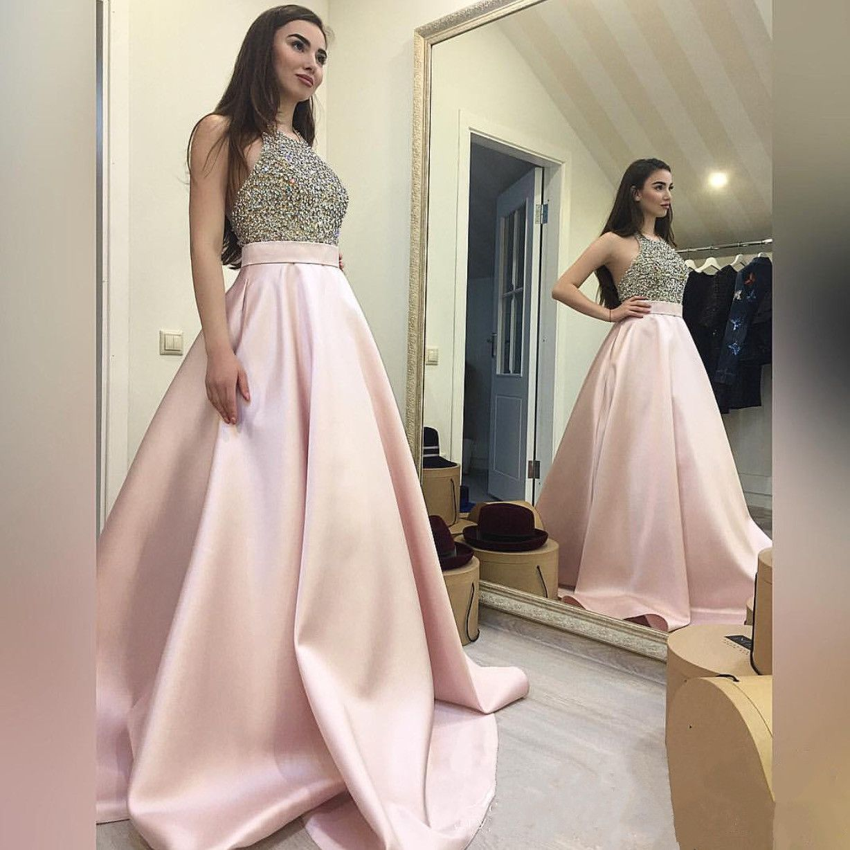 Beaded Prom Dress,Halter Prom Gowns,Long Evening Dress,Ball Gowns Prom Dress,Prom Dresses 3