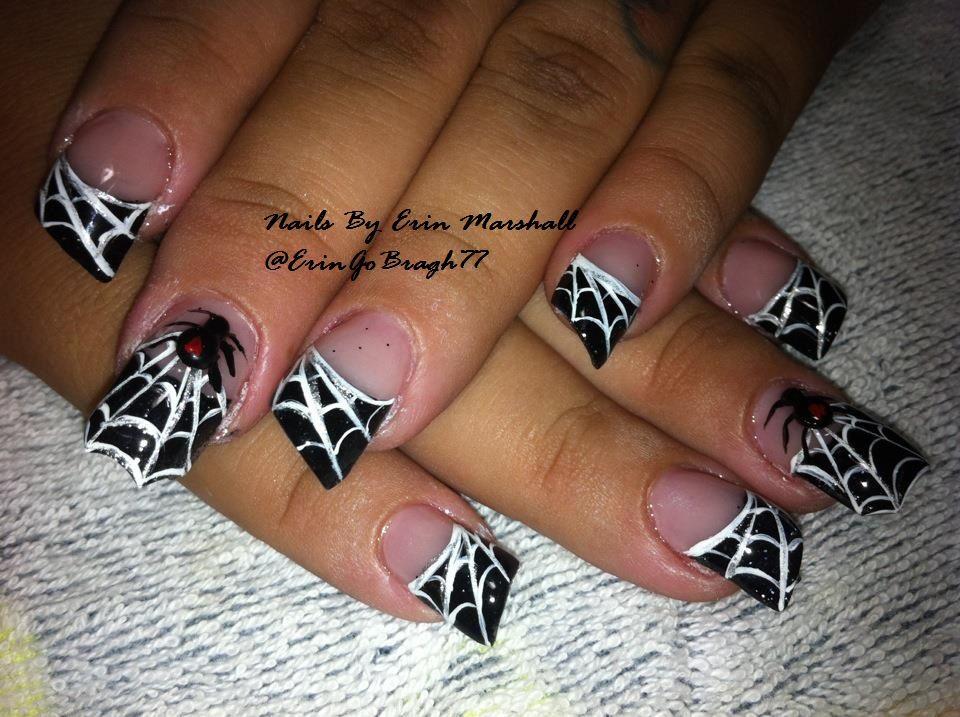 halloween 3d spider acrylic nails nailart