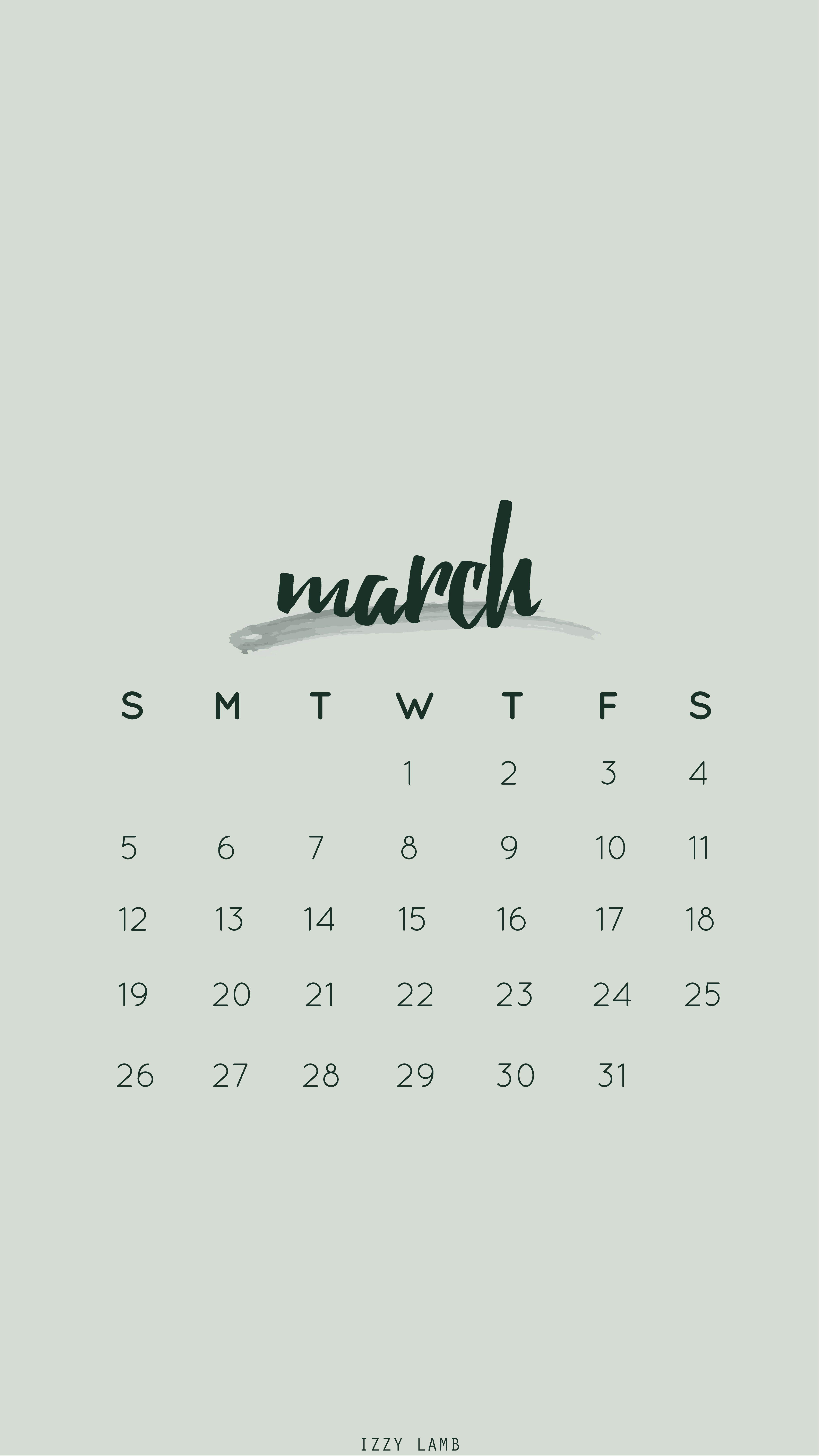 March calendar wallpaper iphone wallpaper