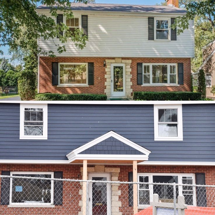Exterior Blue Siding With Red Brick Homes House Exterior Blue Red Brick House Exterior Colonial House Exteriors