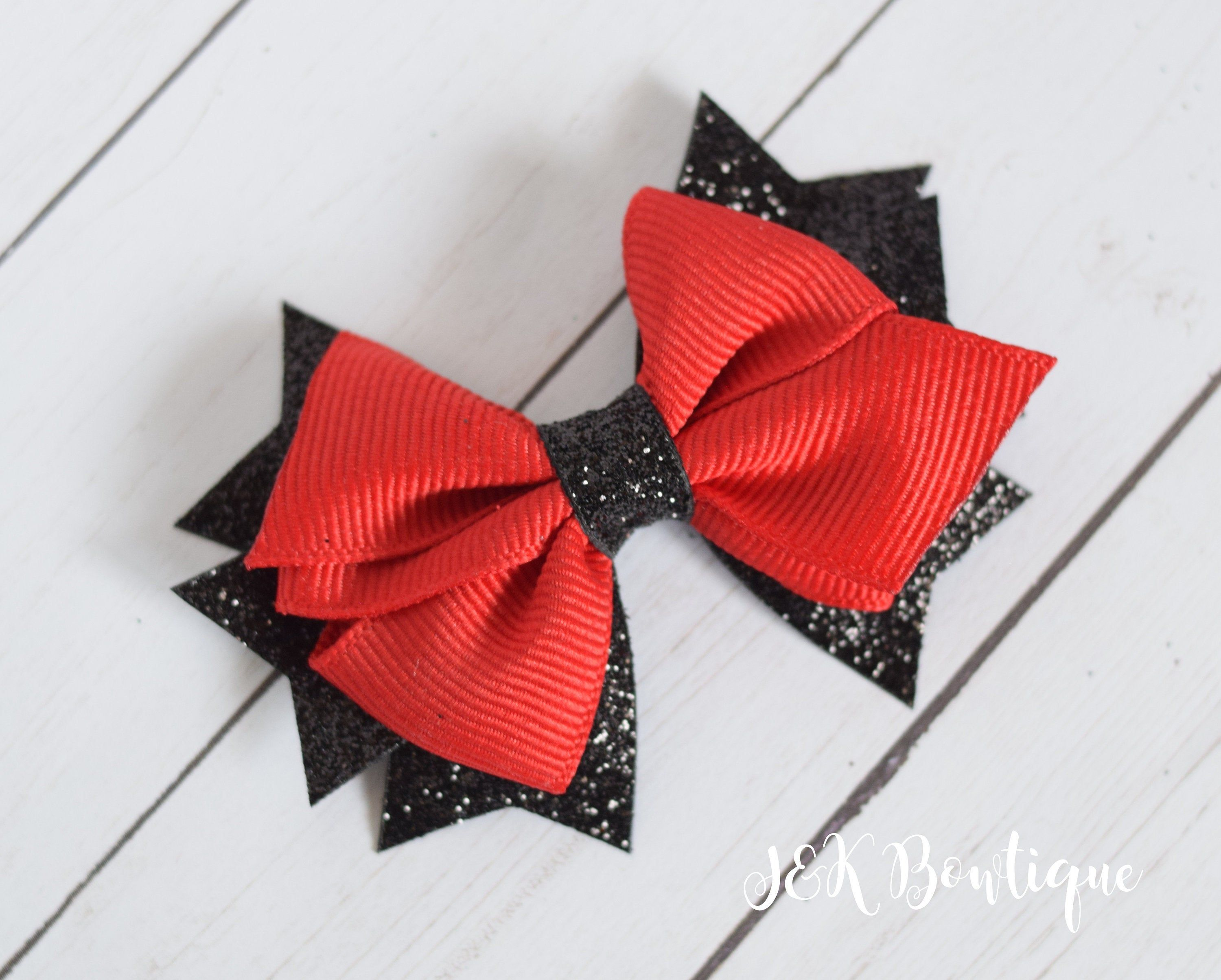 Red /& Gold or Red /& Silver Glitter Christmas Hair Bows Clips Alligator Clip